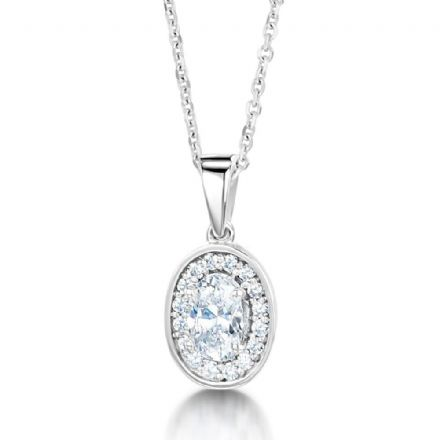 18ct White Gold  G, VS  Diamond pendant oval centre with cluster halo on plain swinging bail